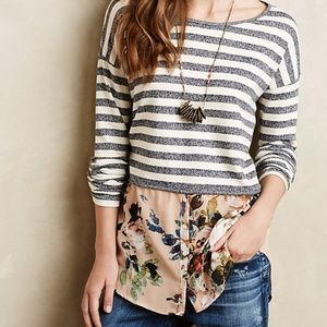 Anthropologie Postmark Striped Floral Sweater